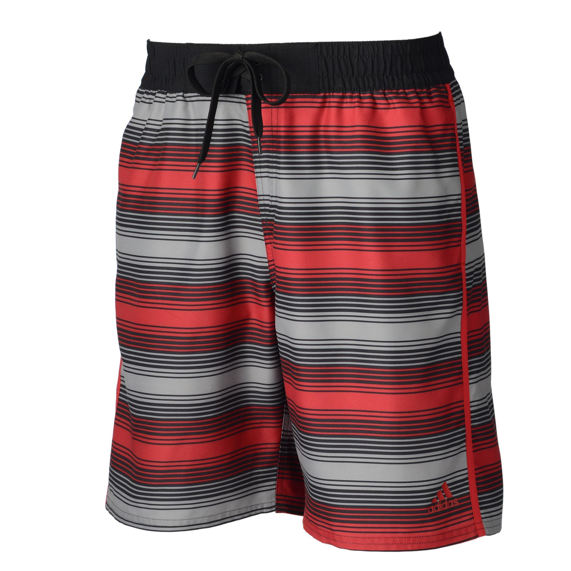 Men's Adidas Energy Striped Microfiber Volley Swim Trunks, Size: Medium, Red