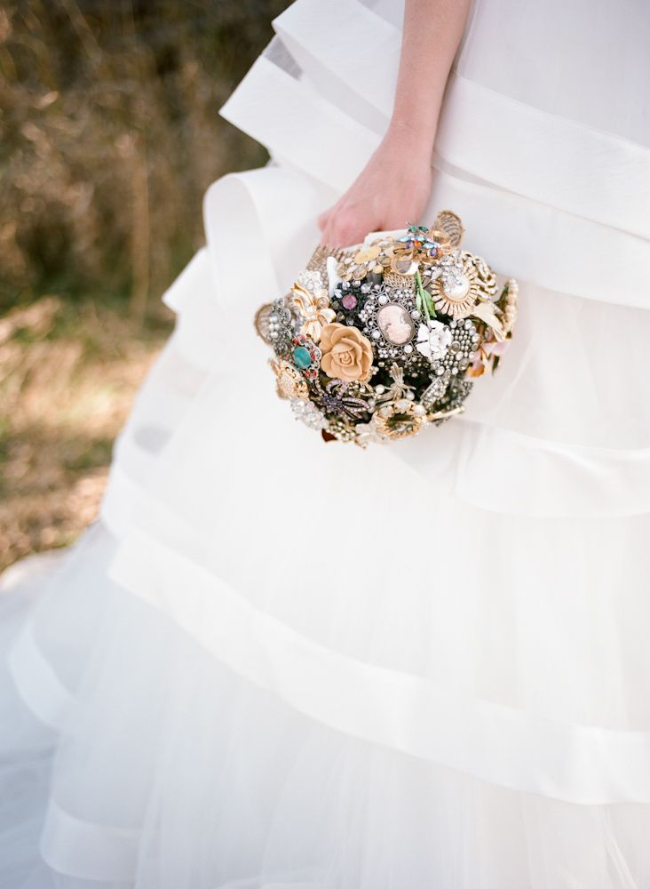 Vintage brooch bouquet, charming midwest country wedding, rustic chic wedding ideas | Shaun Bailey Photography