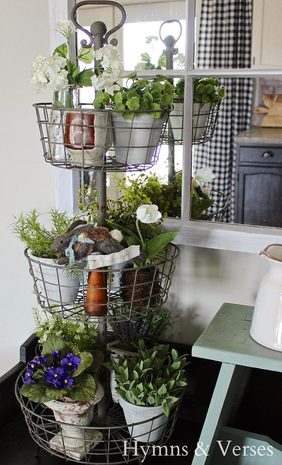 3 Tier Wire Stand with Spring Plants - Hymns and Verses | For the ...
