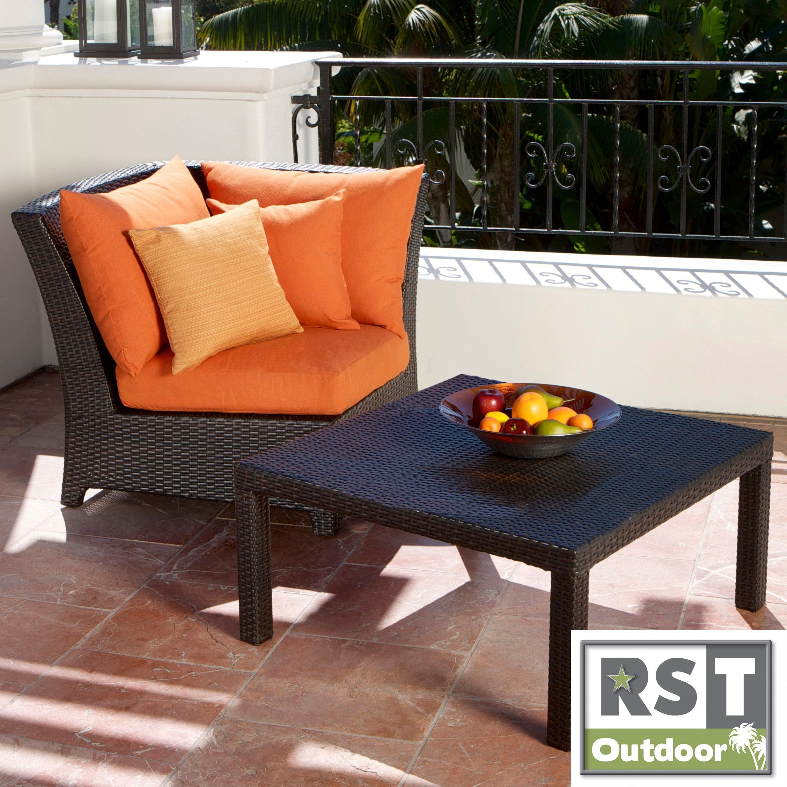 RST Outdoor Tikka Patio Furniture Corner Section and Coffee Table