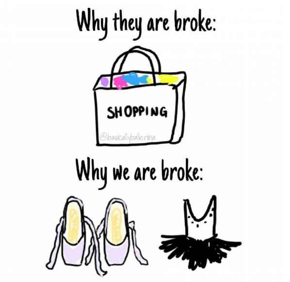 Pretty much any money you earn goes toward leotards, classes, bun shapers, tights, and every other damn thing you need for dance.