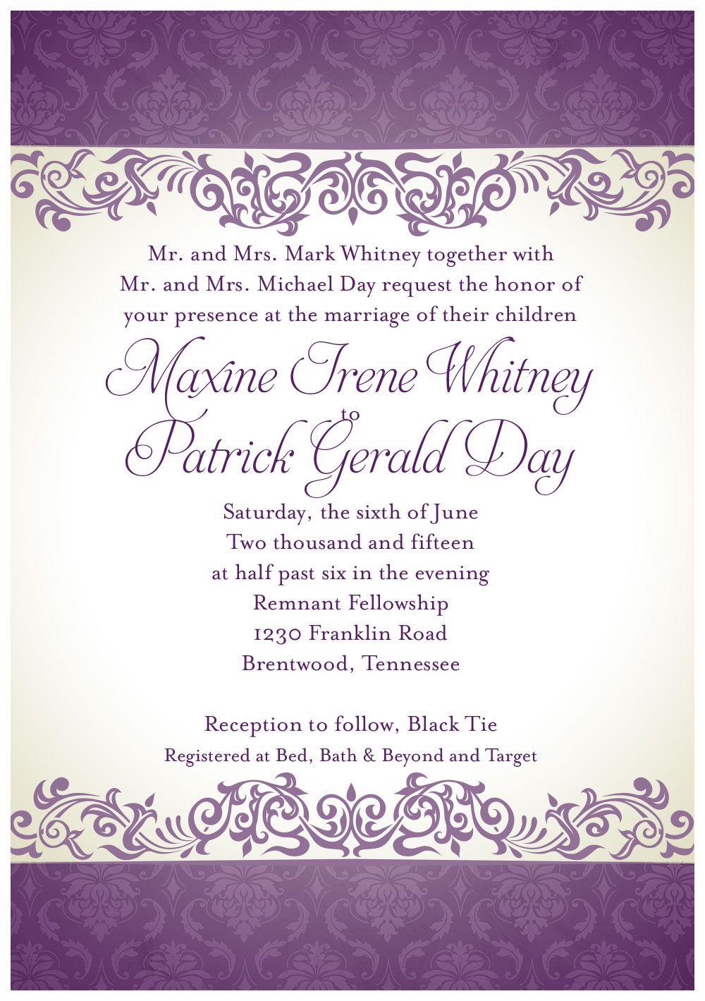 June summer wedding invitation purple damask design | Wedding ...