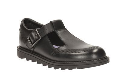 Clarks Penny So Jnr - Black Leather - Girls School Shoes