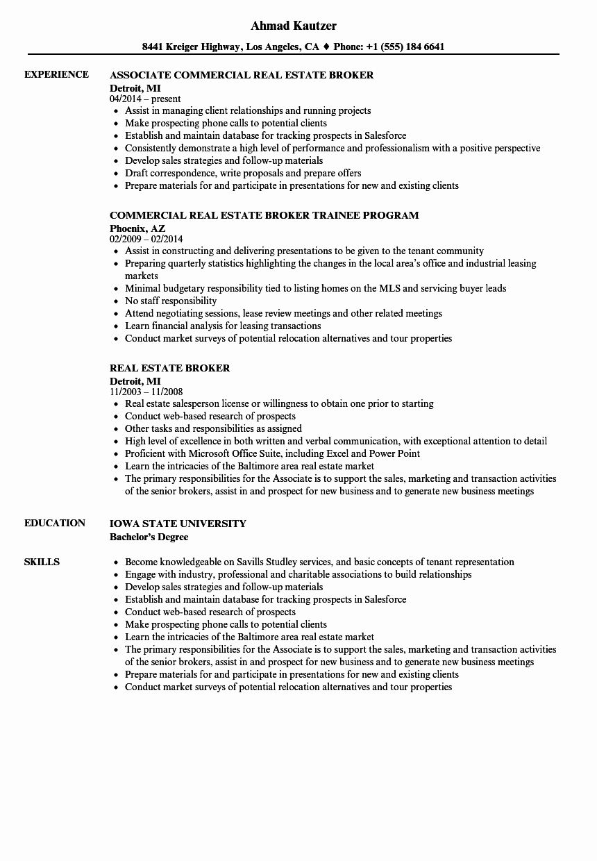 Real Estate Agent Resume Example New 10 Resume For Real Estate