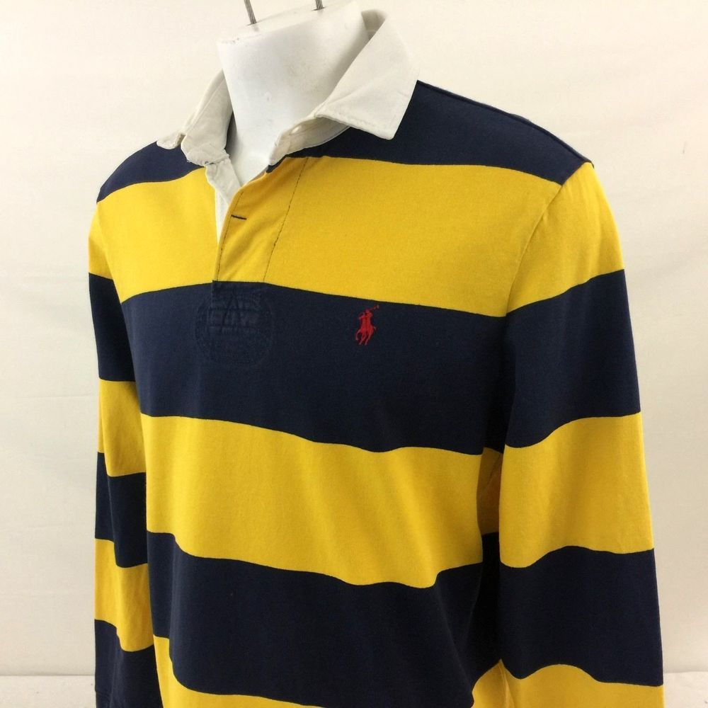 c37dd54264a0 Polo Ralph Lauren Custom Fit Rugby Polo Shirt Large Blue Yellow Striped  Heavy  PoloRalphLauren  PoloRugby