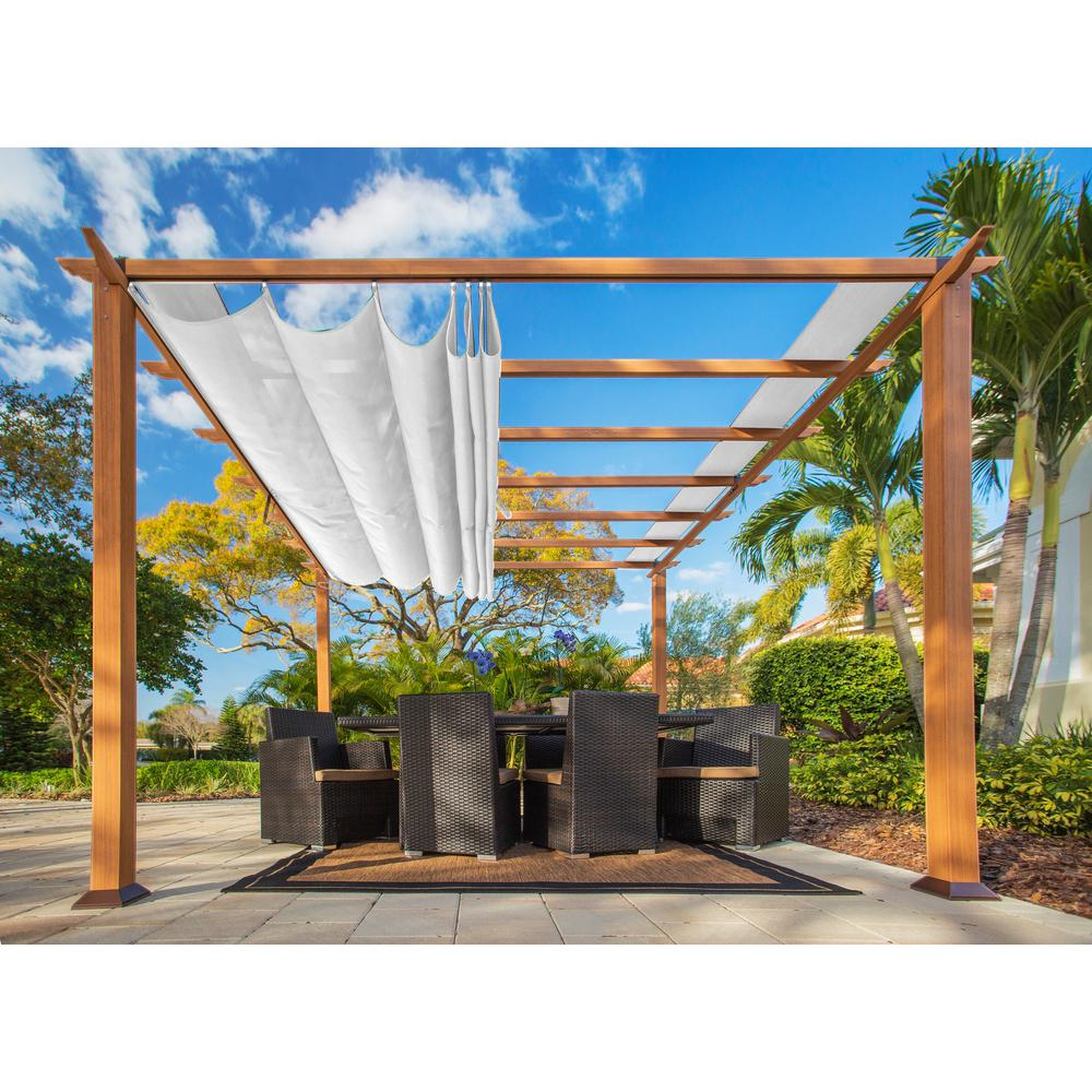 Paragon Outdoor Paragon 11 Ft X 11 Ft Aluminum Pergola With The Look Of Canadian Cedar Wood And Creme Color Co Outdoor Pergola Aluminum Pergola Pergola Patio