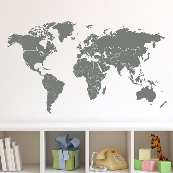 Wall decal 36w world map with countries borders wall vinyl decal world map wall decal with countries borders gumiabroncs Image collections