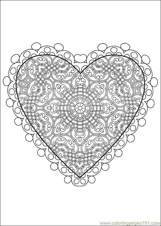 valentine's day coloring page   Mandala, Cuore, Disegni da ...