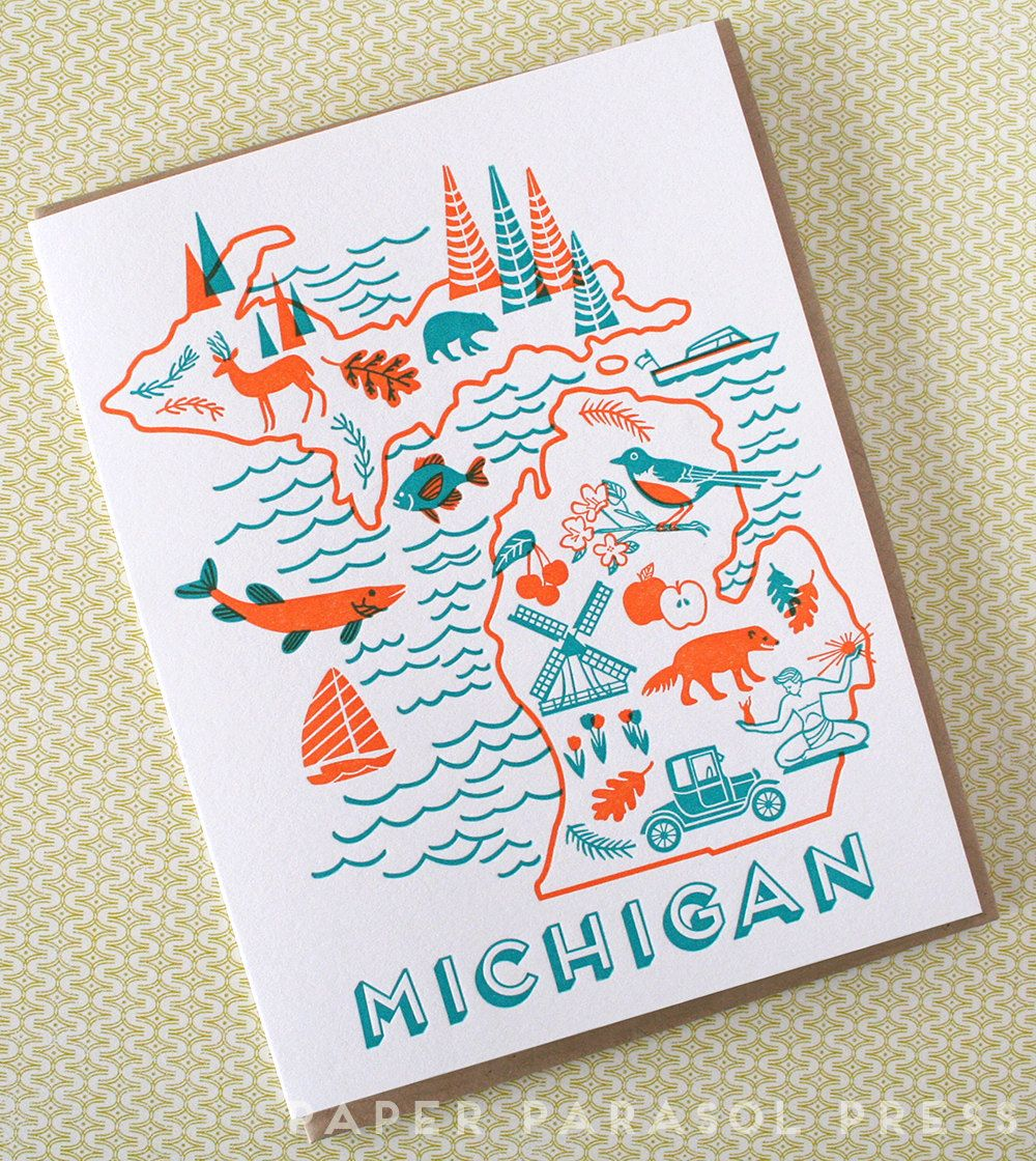 Michigan State Love Letterpress Printed Card By Paperparasolpress On