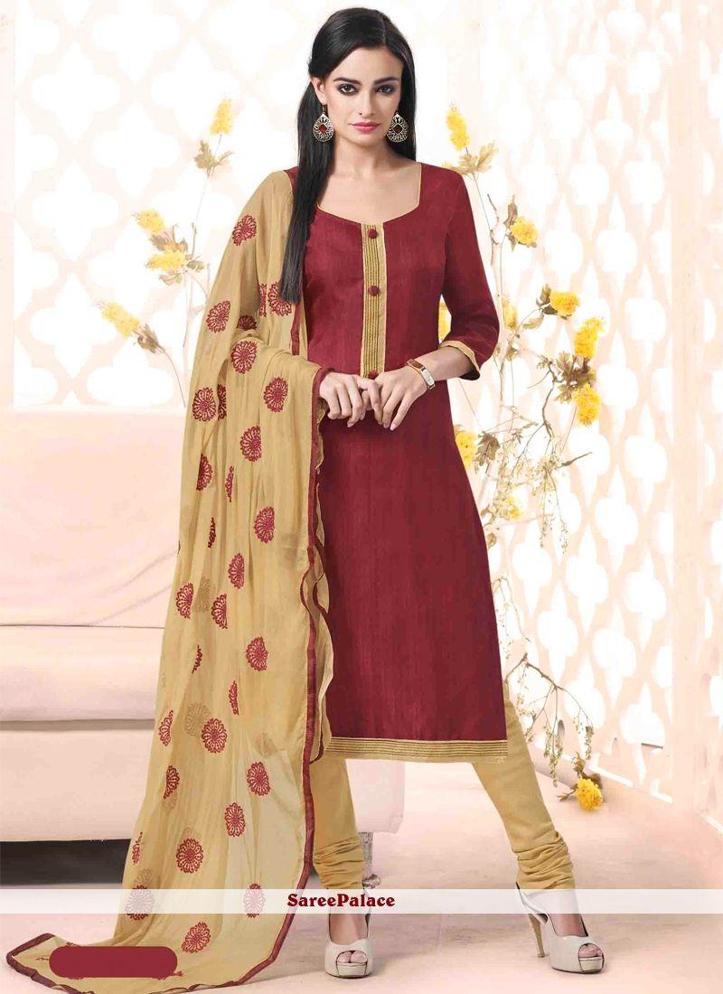 d0ae48265e Girlish Bhagalpuri Silk Maroon Lace Work Churidar Designer Suit ...