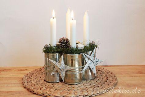 Adventskranz aus konservendosen adventskranz pinterest - Adventskranz edelstahl dekorieren ...