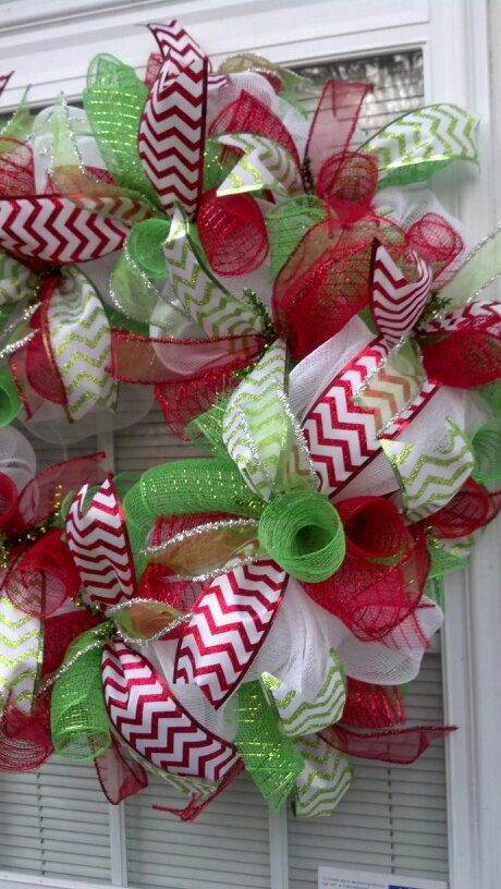 Deco Mesh Christmas Wreath by BCsCraftyCreations on Etsy Wreaths