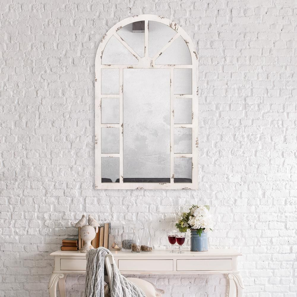 Pinnacle Arch Windowpane 24 In X 40 In Distressed White Wall Mirror White Wall Mirrors Arch Mirror White Vintage Mirror
