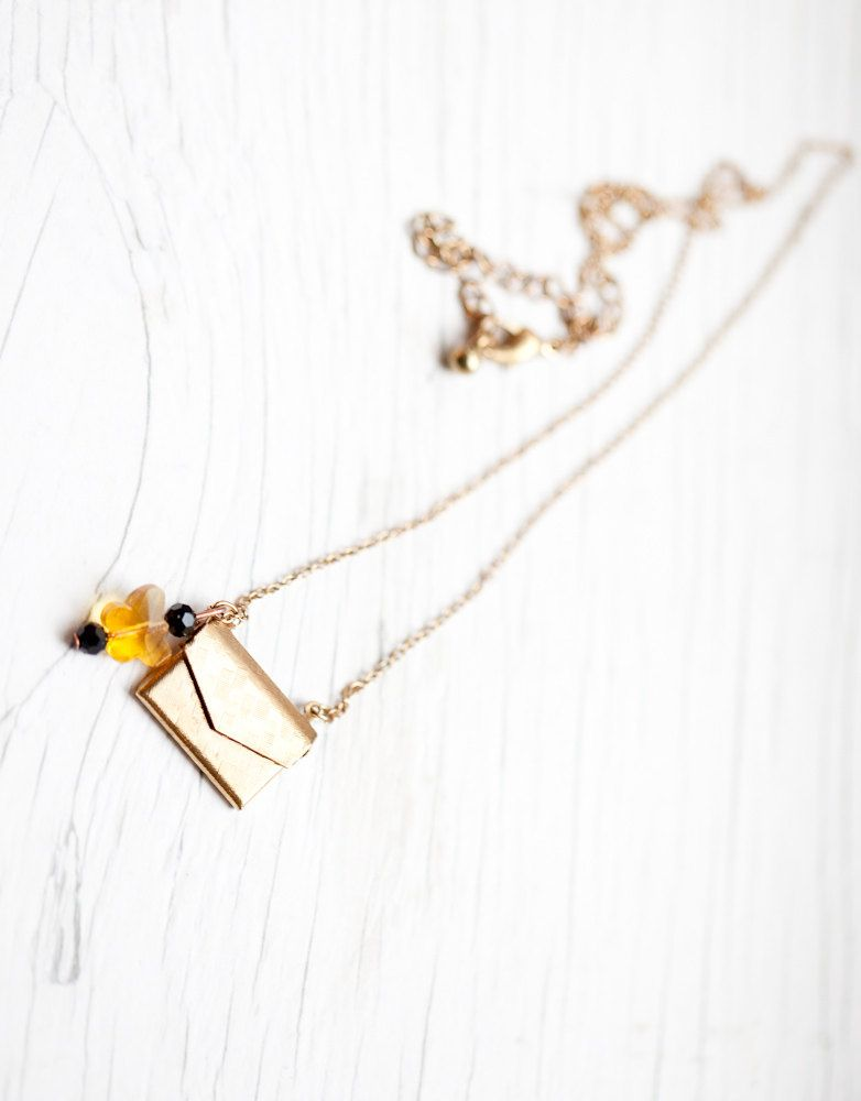 Purse Necklace with yellow Swarovski butterfly $10
