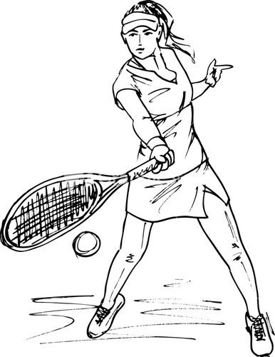 Sketch Of Woman With Tennis Racket Vector Illustration Woman Sketch Abstract Sketches Tennis Art