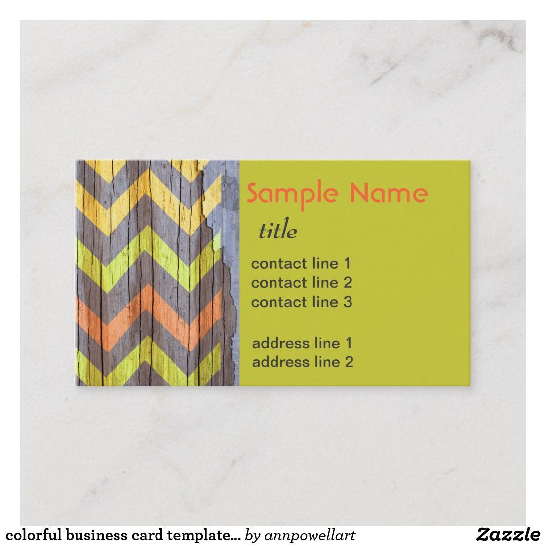 Colorful Business Card Template Chevron Pattern Nice Looking