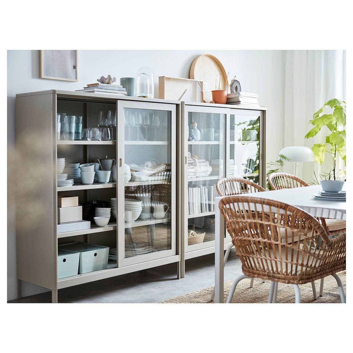 IdÅsen Beige Cabinet With Sliding Glass Doors 120x140 Cm Ikea Glasschiebetür Glastür Vitrine