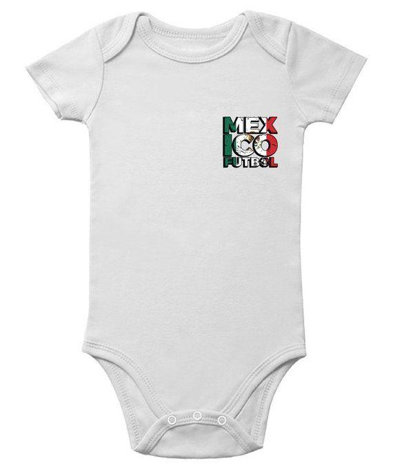 2a8a1a55c32 Mexico Futbol Short Sleeve Baby Bodysuit Mexican Football Jersey One Piece  Mexico Soccer Baby Bodysu