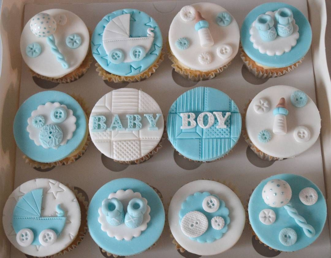Cute Baby Blue Cupcakes For A Baby Shower Baby Shower Cupcakes