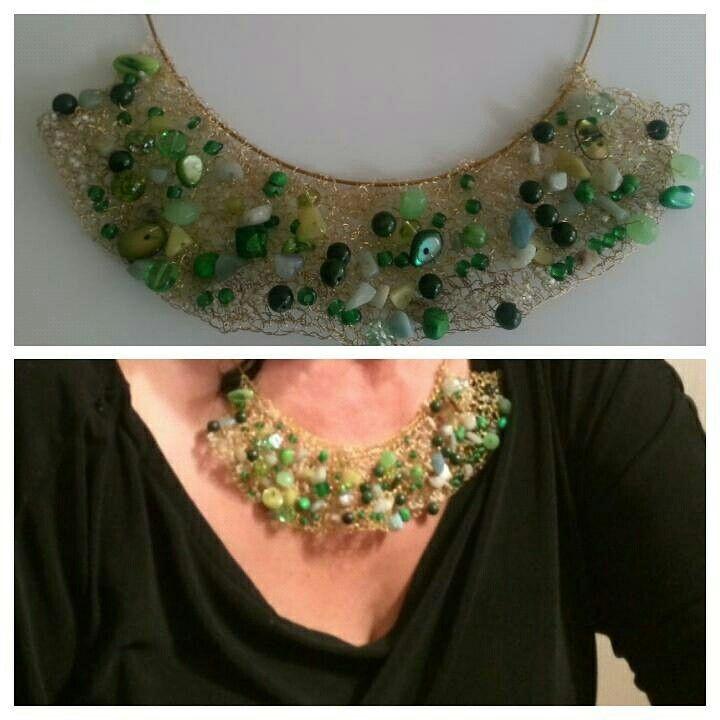 Collar tejido con alambre para bisuteria y piedras   crochet   Pinterest
