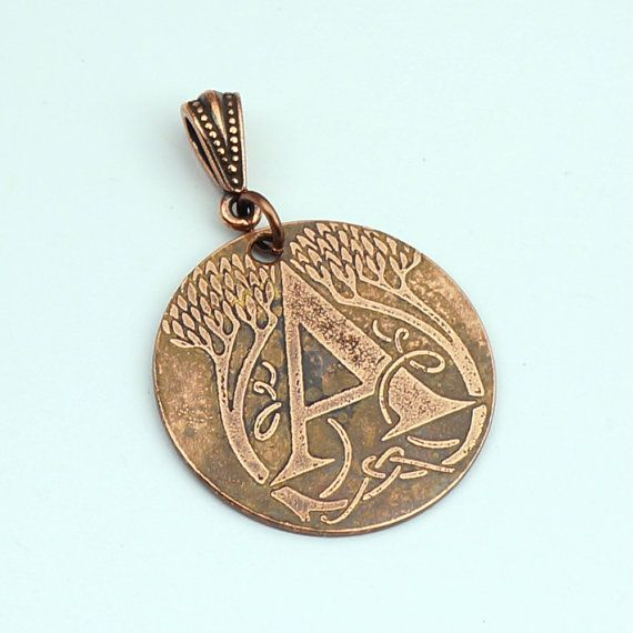 Initial A pendant with trees and leaves, round flat copper metal letter monogram, optional necklace, 28mm