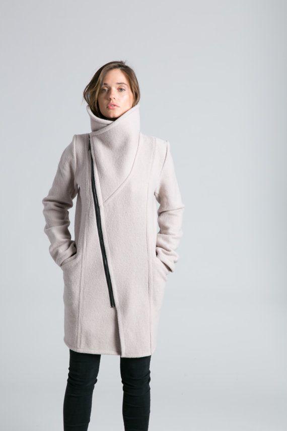 b221b9763f4227 NEUE modische Jacke / hoher Kragen Pullover Jacke / asymmetrische Jacke /  Trench Mantel / Jacke aus Wolle-Marcellamoda - MC786