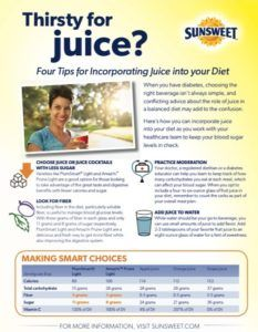 #AD Think you have to avoid all juice with diabetes? Think again! Here are 4 tips for incorporating juice as part of a healthy meal plan @Sunsweet