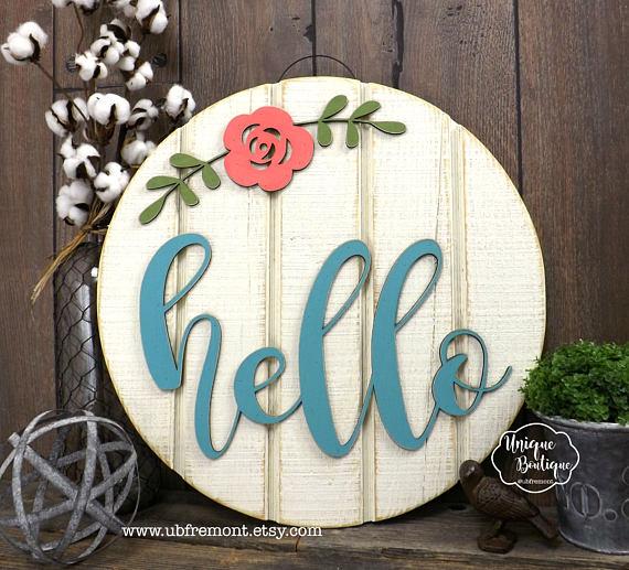 Hello Sign Spring Door Sign Round Circle Door Hanger Flower Door Hanger Wood Shiplap Rustic Farmho Summer Door Hanger Door Hangers Diy Summer Wood Sign