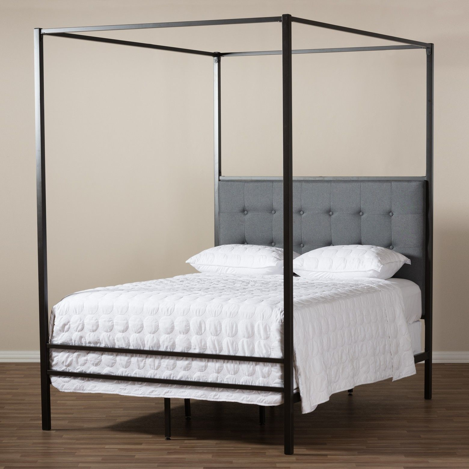 Eleanor Vintage Industrial Finished Metal Canopy Bed