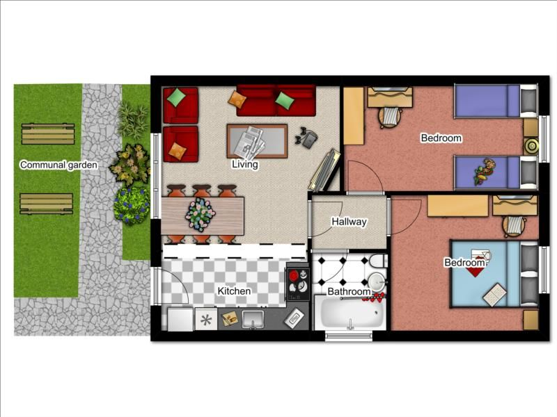 2 bedroom bungalow floor plan click the floorplan to enlarge - Bungalow Floor Plans