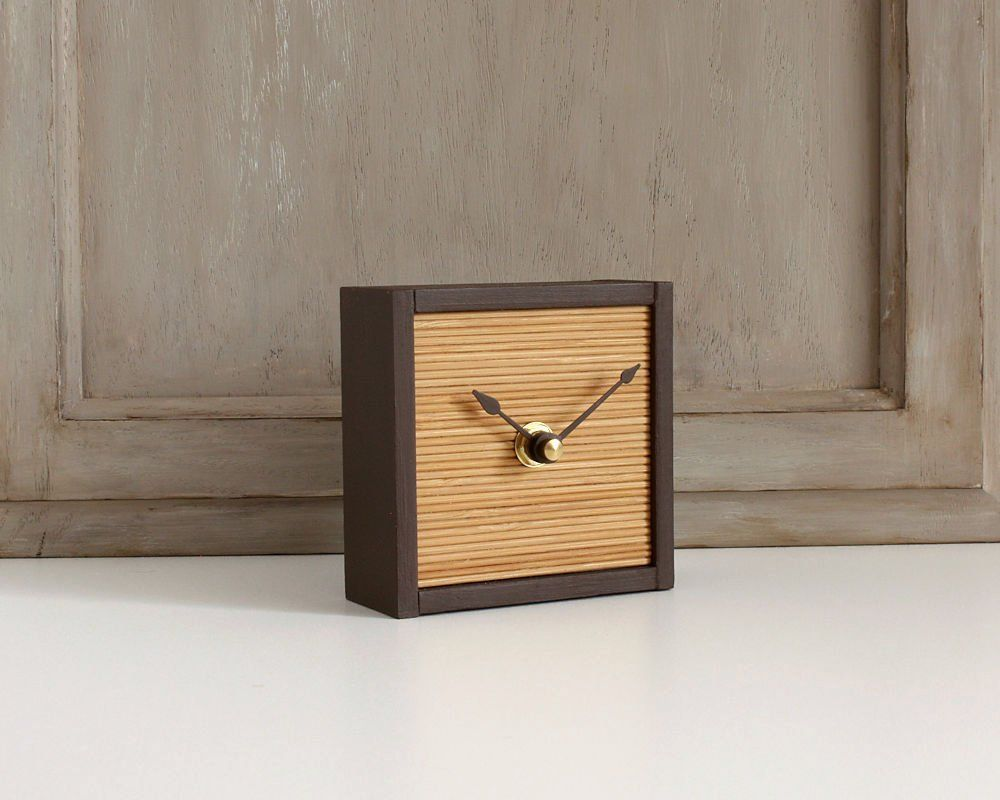 Small Desk Clock Modern Minimalist Bamboo And Wood Table Etsy In