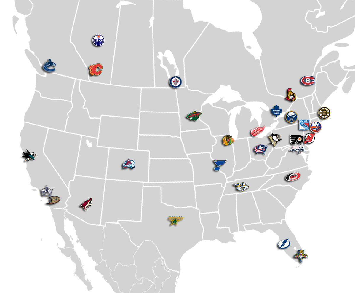 Map that shows where all 30 of the NHL teams are located. | Hockey