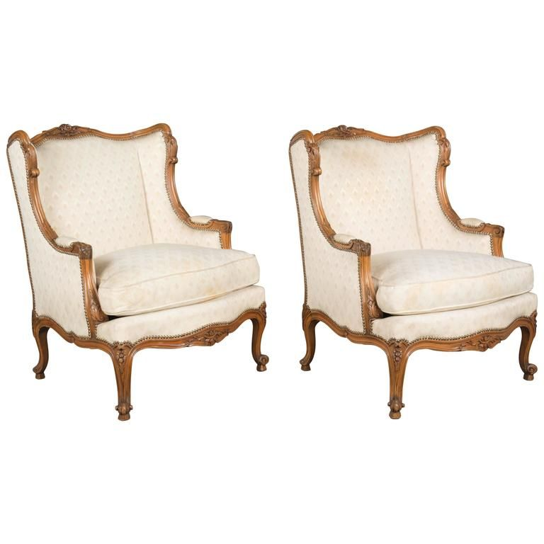 Pair of Louis XV Style French Armchairs Armchairs, French antiques