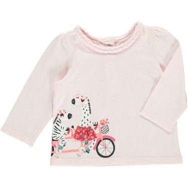 36c3dde96671a Tee-shirt manches longues bébé fille Rose