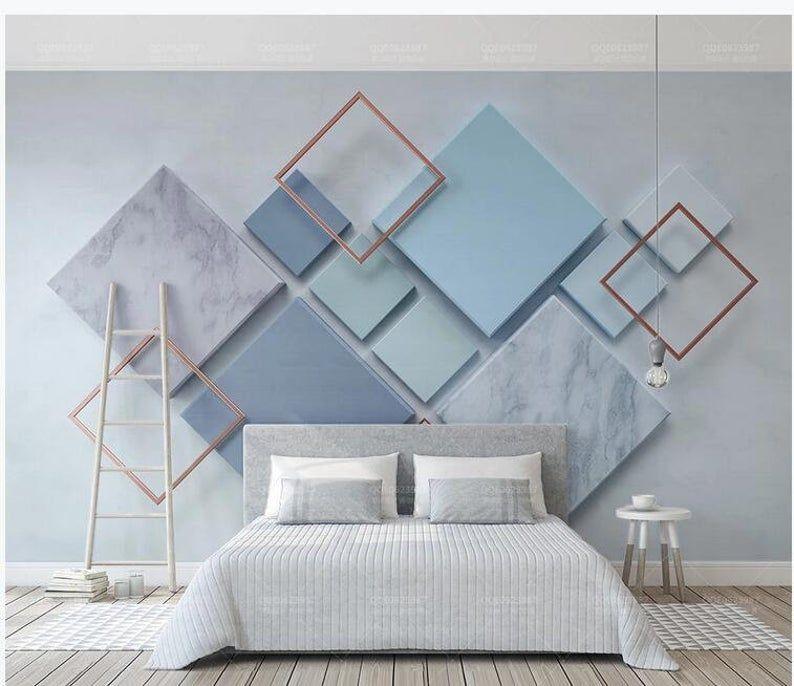 Custom Photo Wallpaper Modern Geometric Marble 3D
