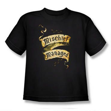 This Harry Potter t-shirt features the password to close the Marauder's Map, Mischief Managed, on a banner. This 100% cotton t-shirt is available in youth sizes.