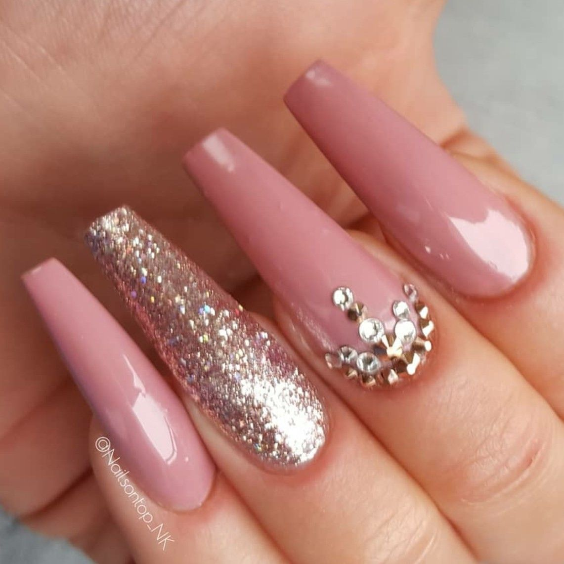 Long Ballerina Nails. Pink Nails. Glitter Nails. Nails with