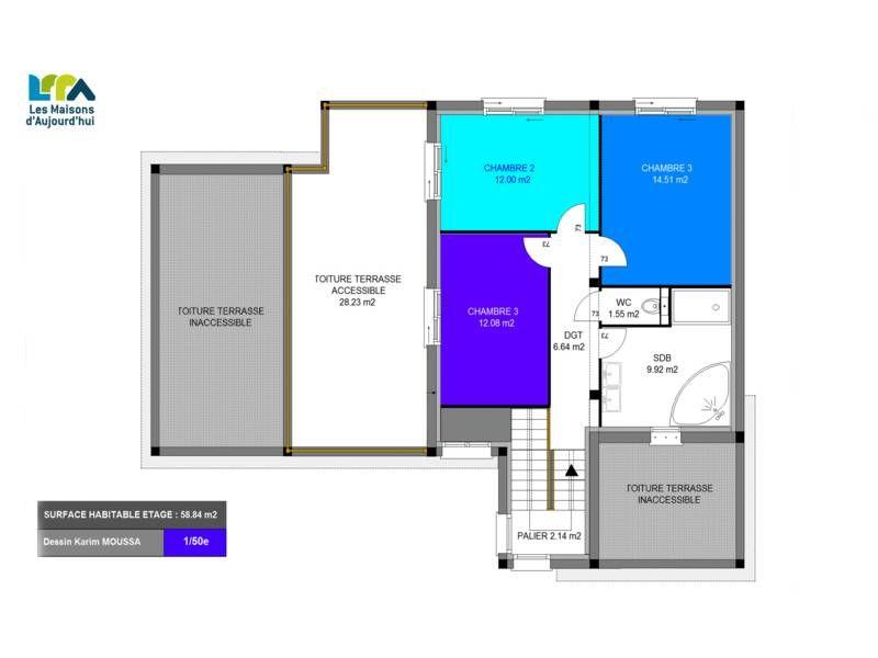 Plan maison contemporaine 161m2 5 pièces 4 chambres Garage PLAN