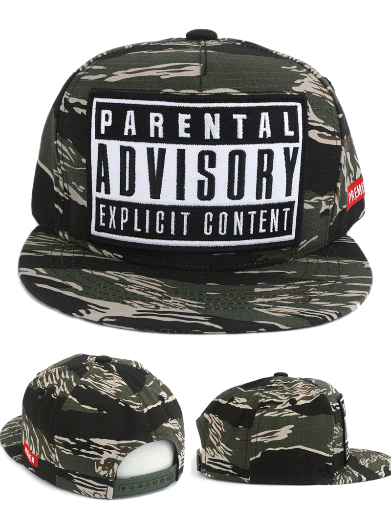 d7f0dc21704c4 PREMIER Camouflage Parental Advisory Snapback Hat Kpop Cap Korean Fashion