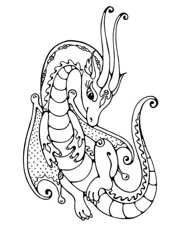 Flower Dragon By Unknown Artist Dragon Coloring Page Free Coloring Pages Coloring Pages