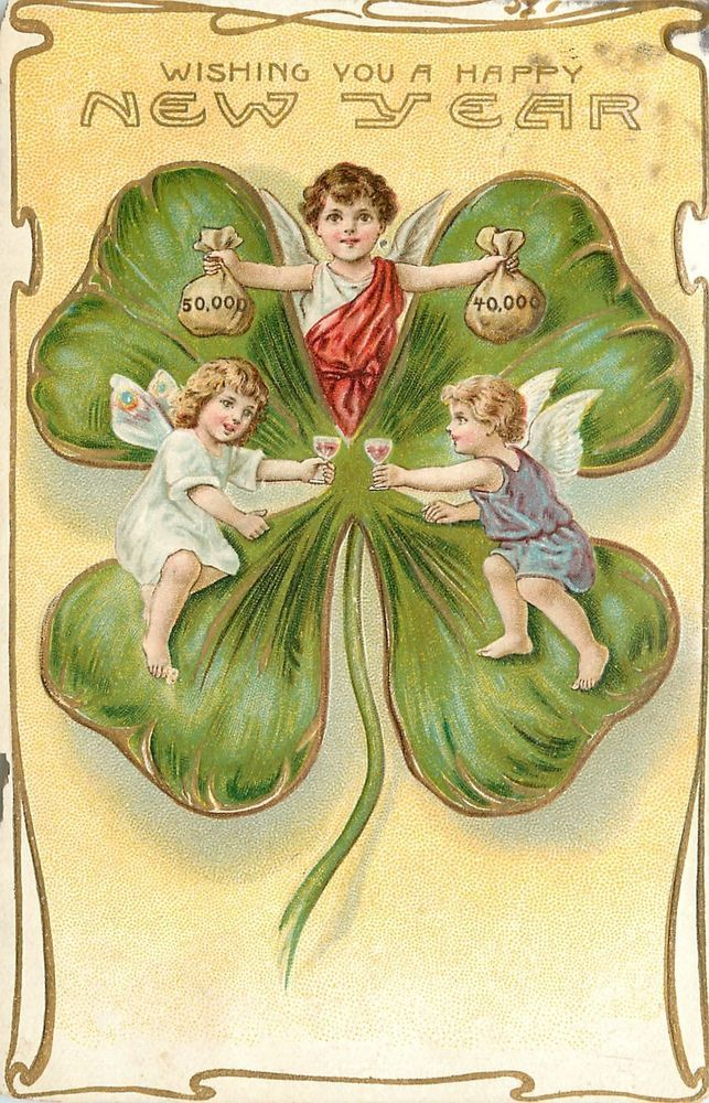 New Year~Huge Shamrock~Lil Angels~Wine Toast~Money Bags~Gold~Emboss~Germany