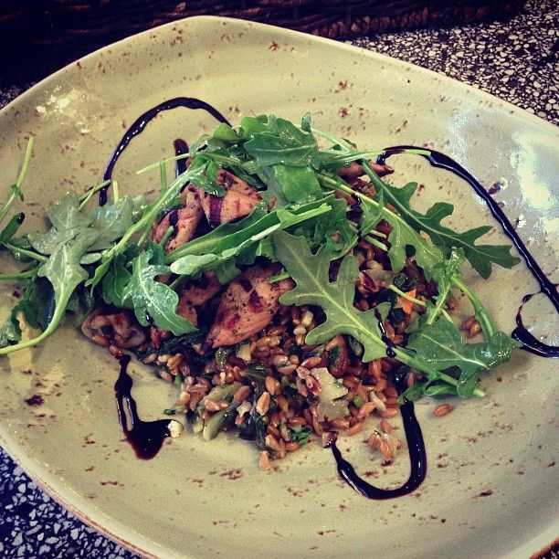 #tgirvine Grilled Marinated Duck Tenderloins, Farro Salad, Chard, Aged Balsamic