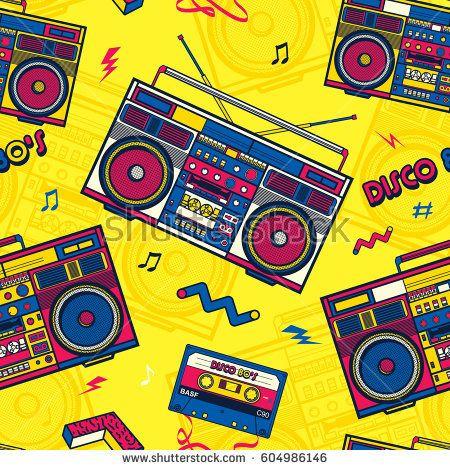 retro pop eighties boombox radio seamless pattern 80 s background