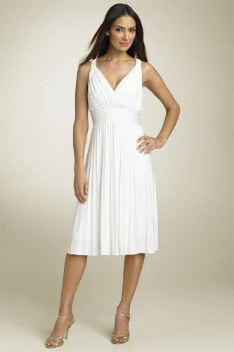 A-Linie V-Ausschnitt natürliche Taille Chiffon elegantes wadenlanges Brautkleid