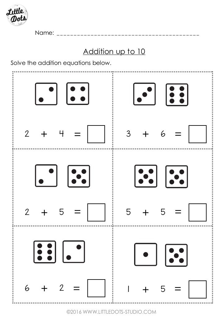 free addition worksheet suitable for kindergarten or grade  level  free addition worksheet suitable for kindergarten or grade  level  practice solve addition equations with the help of dice