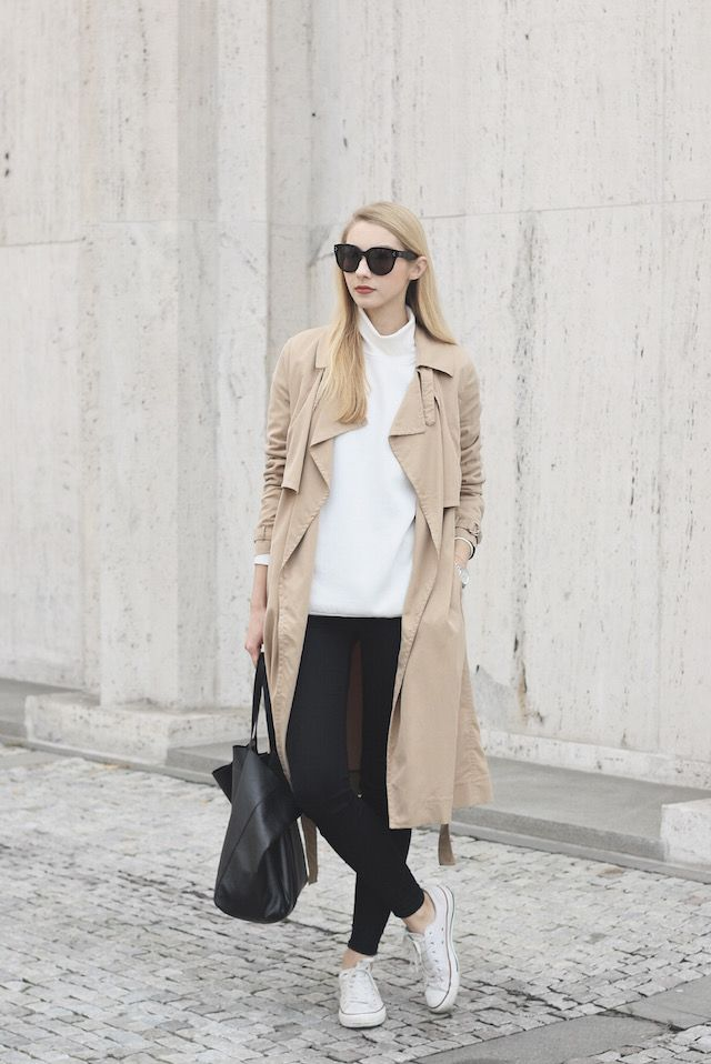 Beige is a new and upcoming trend this fall. Wear a pair of white converse  with your beige item to create a pale contrast and steal Pavlína Jágrová\u0027s