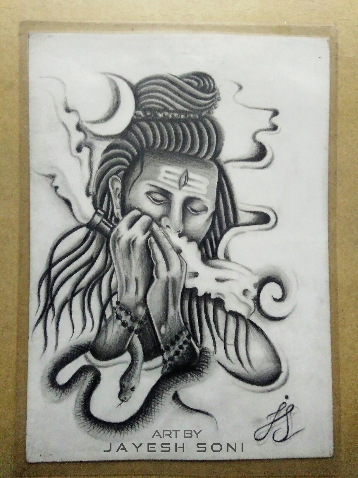 Work 2014 tittle smoking shiva medium pencil drawing art by jayesh soni hope you all like this shiva smoke smoking snake moon art artwork