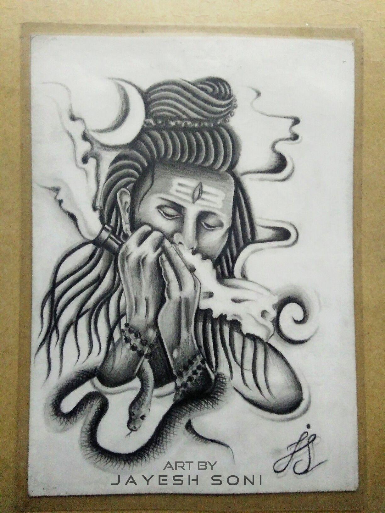 Work 2014 tittle smoking shiva medium pencil drawing art by jayesh soni 😊 hope you all like this 😊 shiva smoke smoking snake moon art artwork