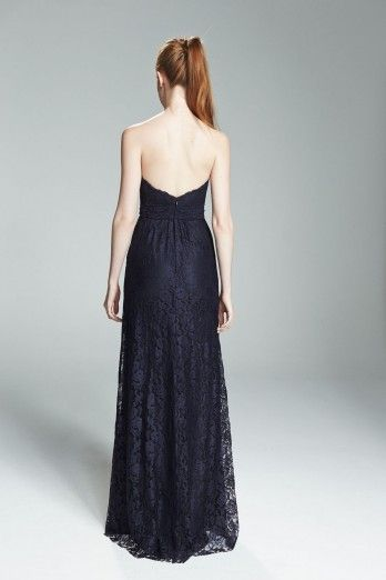 FILIPA. Strapless lace bridesmaids gown shown in Navy. Available in 11 colors.