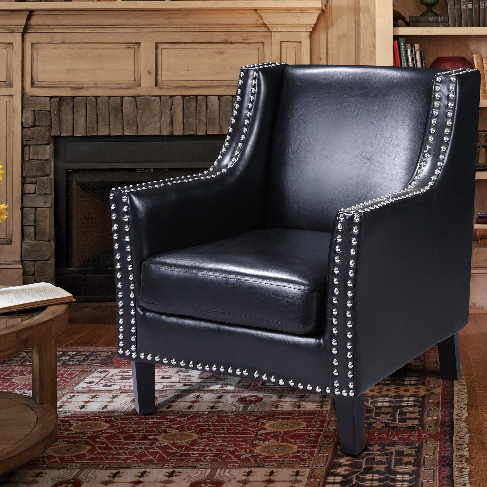Best Master Furniture Modern Tufted Leather Accent Chair 400 x 300